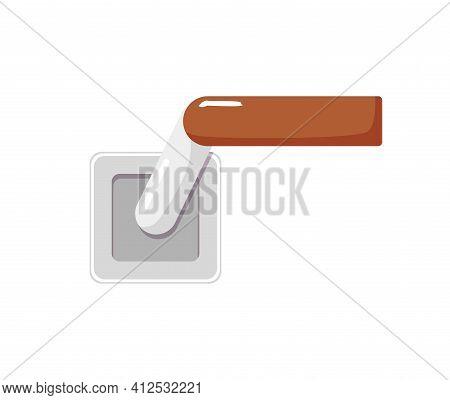 Wooden Lever Door Handle With Bent Rotating Geometric Shape