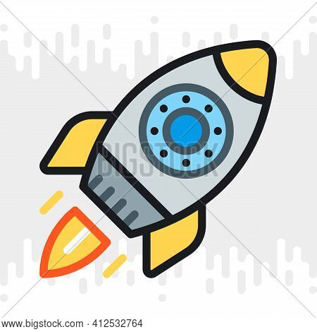 Startup Or Start-up Launch Icon. A Rocket With A Jet Engine Takes Off From The Cosmodrome. Simple Co