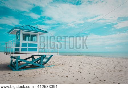 Tropical Beach With Lifeguard Cabin, Florida, Usa