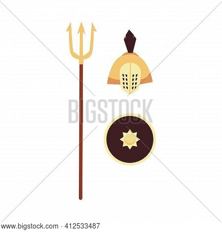 Isolated Vector Icons Weapons Of Roman Or Greek Ancient Era.