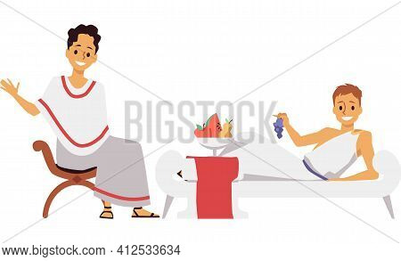 Traditions Of Feast Dinners In Ancient Rome A Vector Isolated Illustration.