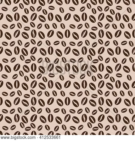 Seamless Pattern Of Coffee Beans For Coffee Shop Background. Decoration Cafe, Place To Eat And Culin