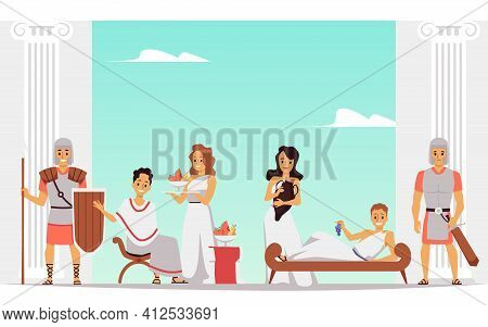 Cartoon People In Ancient Rome At Leisure Time. Roman Royalty Banner