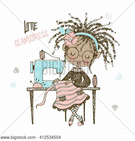 A Pretty Black Seamstress Girl Sews A Dress On A Sewing Machine. Doodle Style. Vector