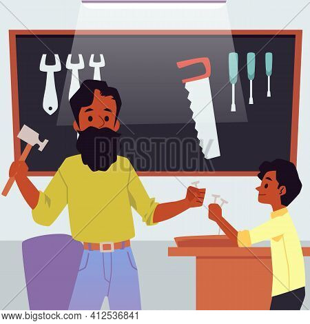 Father Teaching His Son To Do Woodwork And Carpentry, Flat Vector Illustration.