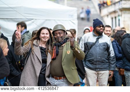 Lyon, France, April 7, 2019:people On Holiday In The City Of Lyon And Its Locals, France