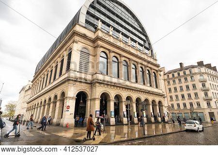 Lyon, France-april 7, 2019 : The Lyon Opera House Is Seen From The Outside, City Of Lyon, Rhone Depa