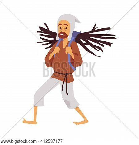 Medieval Picker Of Brushwood, Peasant With Bundle Firewood A Vector Illustration