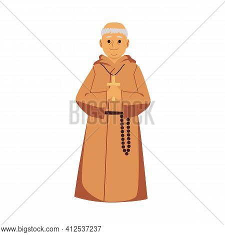 Catholic Monk In Religious Robe Holding A Cross - Cartoon Old Man