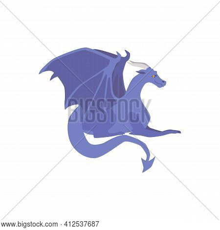 Medieval Dragon From A Fairytale Kingdom, Legend Or Myth A Vector Illustration