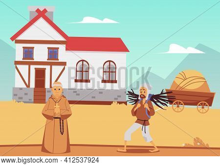 Medieval Countryside With Windmill, Peasant And Priest Flat Vector Illustration.