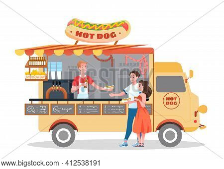 Hot Dog Street Market Fastfood Truck, Happy Couple People Buy Hotdogs From Vendor