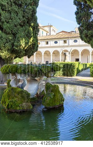 Rome, Italy - October 10, 2020: Fountain In 16th-century Garden In Cloister Of Michelangelo At 3rd C