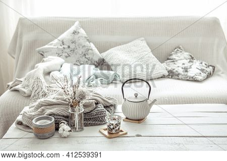 Interior Decor Details In Scandinavian Style. The Concept Of Home Comfort And Modern Style.