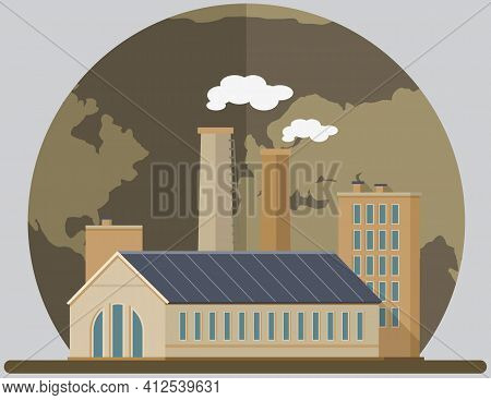 Manufactures And Factories Pollute Air And Atmosphere. Enterprise On Background Of Destroyed Planet.