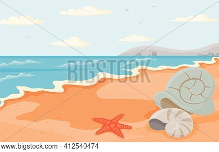 Water Covers Sandy Beach With Starfish And Seashells. Seascape With Salty Water On Seashore