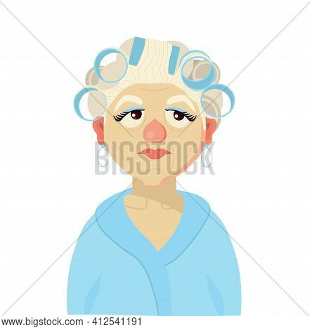 An Elderly Woman In A Dressing Gown And Curlers. Home Clothes. Grandmother. Vector Illustration