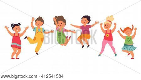 Kids Jumping. Happy Cartoon Child, Excited Children Jump Together. Fun Preschool Boy Girl, Isolated