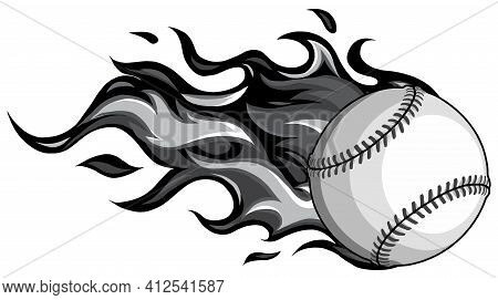 Monochromatic Baseball With Flames In White Background Vector Illustration