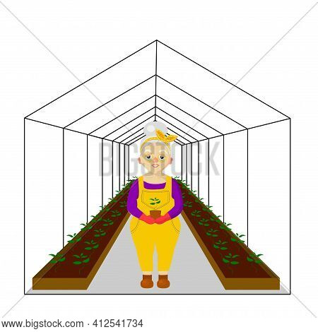 Woman Near The Greenhouse. Greenhouse For Plants. Spring Work In The Garden And Vegetable Garden.vec
