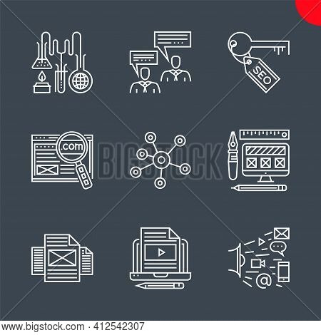 Seo Line Icons Set. Search Engine Optimization Related Vector Line Icons. Social Media, Domain, Mark