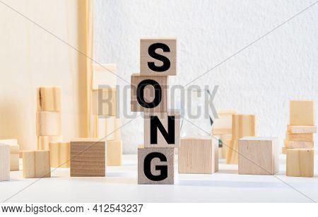 Songs Word In Mixed Vintage Metal Type Printing Blocks Over Grunge Wood