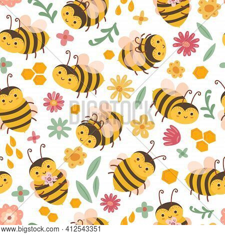 Cute Bee Pattern. Bees And Flowers, Cartoon Flying Insects. Art Textile Print, Adorable Spring Summe