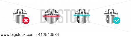 Fingerprint Scan. Set Of Fingerprint Types With Twisted Lines Signs. Fingerprint Scanning Icons With