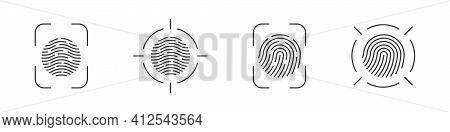 Fingerprint Set. Biometric Fingerprints Identification. Fingerprint Scanning Icons. Vector Illustrat