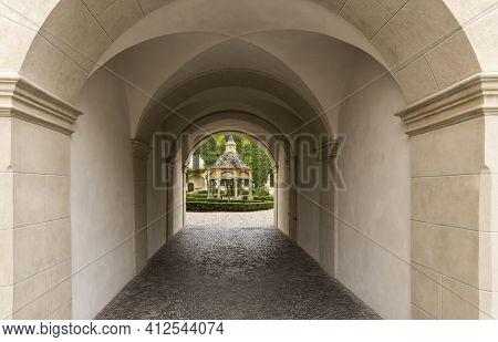 Brixen, Italy - October 9, 2020: Gate With Garden And Arbor In The Monastery Of Abbazia Di Novacella