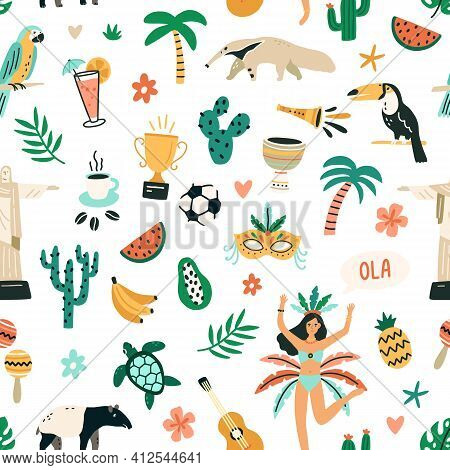 Seamless Brazilian Pattern With Symbols Of Brazil On White Background. Endless Repeatable Texture Wi