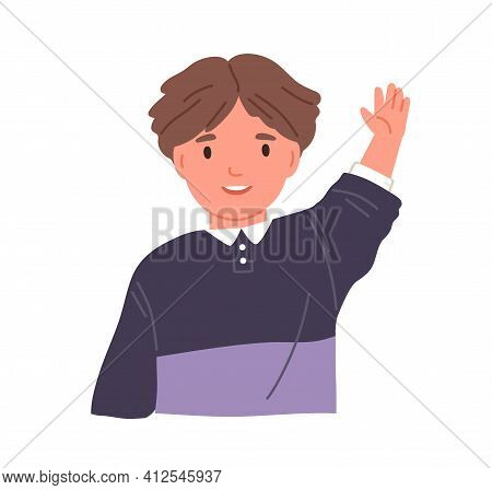 Smiling Child Waving With Hand And Saying Hi. Portrait Of Boy With Happy Face Greeting Smb. Little K