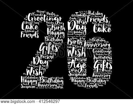 Happy 26th Birthday Word Cloud, Holiday Concept Background