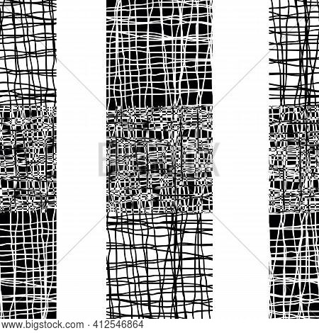Irregular Vector Gauze Weave Effect Striped Seamless Pattern Background. Backdrop Of Alternating Bla