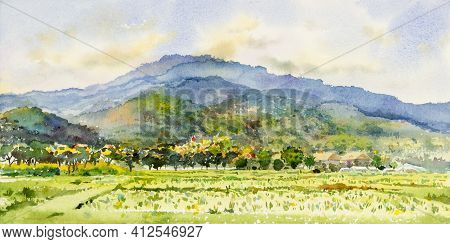Watercolor Landscape Painting Colorful Of Mountain Range With Farm Cornfield In Panorama View And Em