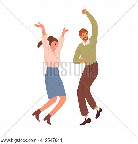 Happy People Jumping And Dancing From Joy And Happiness. Couple Of Positive Energetic Office Workers