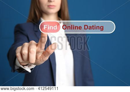 Woman Pointing At Search Bar With Request Online Dating On Blue Background, Closeup