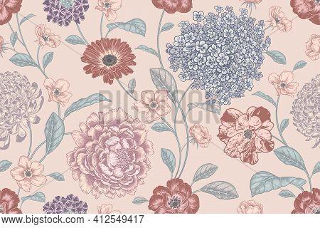 Vintage Seamless Pattern. Floral Pastel Color Background. Flowers Roses, Peonies, Hydrangea, Chrysan