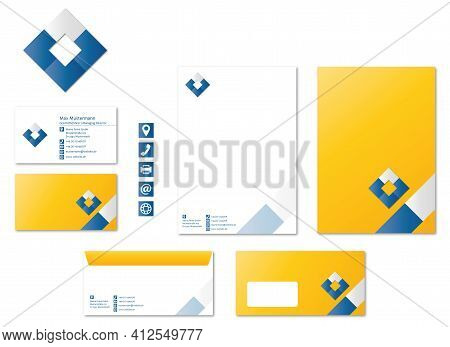 Corporate Design Stationary Logo Icons Modern Vector Tiles Technology Business
