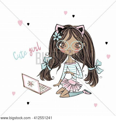 Cute Fashionista Dark-skinned Teen Girl With Cat Ears With Laptop . Vector.