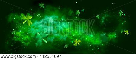 St. Patrick's Day abstract green background decorated with shamrock leaves. Patrick Day pub party celebrating. Abstract Beer art design magic backdrop. Widescreen clovers on black with copy space