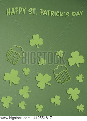St Patricks Day Green Paper Background With Paper Shamrock And Beer Mug