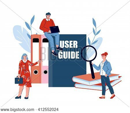 Concept Of User Manual Guide For Web Page Banner Or Social Media Poster With People Standing Next To