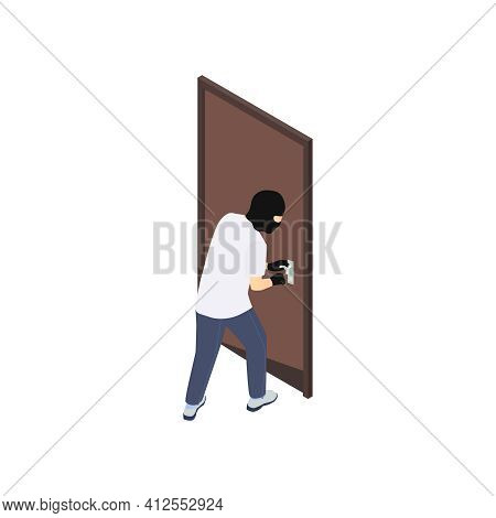 Gang Crime Robbery Stealing Isometric Composition With Character Of Robber Smashing Apartment Door V