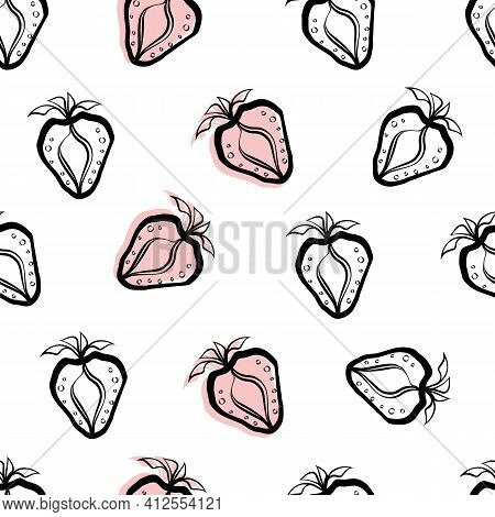 Strawberry And Leaf Linocut Seamless Vector Pattern Background. Stencil Style Hand Drawn Berries Wit