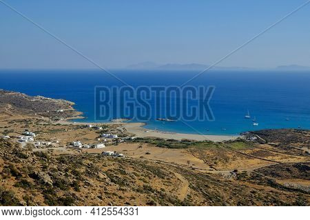 Panoramic View Of The Amazing Beach Of Manganari In Ios Cyclades Greece