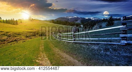 Day And Night Time Change Concept Above Rural Landscape In Spring. Path Through Grassy Field. Wooden