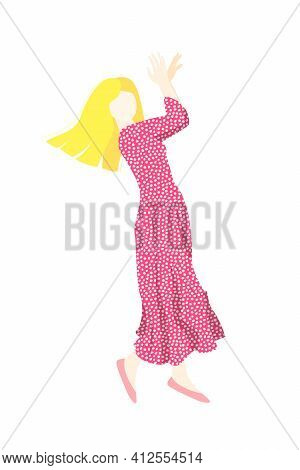 A Woman Is Dancing In A Polka-dot Dress. A Long Pink Dress With Polka Dots. An Abstract Woman. Stock