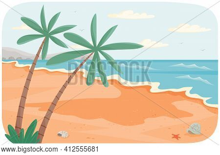 Beach Resort By Sea Vector Illustration. Oceanic Coastline At High Tide. Sandy Shore With Palm Trees