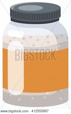 Glass Jar With Mustard, Mayonnaise Or Sauce Inside. Container For Storing Unknown Substance